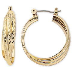 Monet® Gold-Tone Triple Twist Hoop Earrings