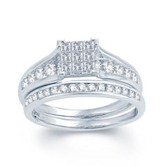 1 CT. T.W. Diamond 10K White Gold Bridal Set