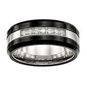 Mens Cubic Zirconia Stainless Steel & Black Ceramic Wedding Band