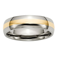 Mens 6Mm Titanium & 14K Yellow Gold Inlay Wedding Band
