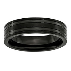 Mens 6Mm Black Ip Plated Titanium Wedding Band