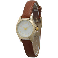 Olivia Pratt Womens Gold-Tone Floral Print Dial with Brown Leather Strap Watch