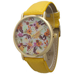 Olivia Pratt Womens Gold-Tone Multi-Color Floral Print Dial Yellow Leather Strap Watch 14181