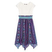 Speechless® Short-Sleeve Chiffon Sharkbite Dress - Girls 7-16