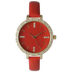 Olivia Pratt Womens Rhinestone Bezel Rhinestone Dial Red Leather Watch 15321