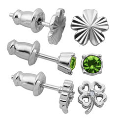 3 Pair Green Crystal Sterling Silver Earring Sets