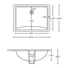 American Imaginations 20.75-in. W x 14.35-in. D CSA Certified Rectangle Undermount Sink In White Color