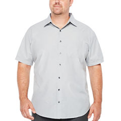 Van Heusen Short Sleeve Traveler Air Check Short Sleeve Checked Button-Front Shirt-Big and Tall