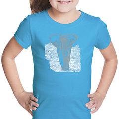 Los Angeles Pop Art Elephant Short Sleeve Graphic T-Shirt Girls