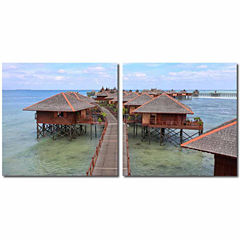 Idyllic Resort Mounted  2-pc. Photography Print Diptych Set