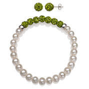 6-7Mm Cultured Freshwater Pearl And 6Mm Olive Lab Created Crystal Bead Sterling Silver Earring And Bracelet Set