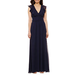 Blu Sage Short Sleeve Cut Outs Evening Gown-Petites