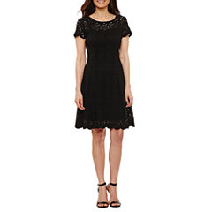 Ronni Nicole Short Sleeve A-Line Dress-Petites