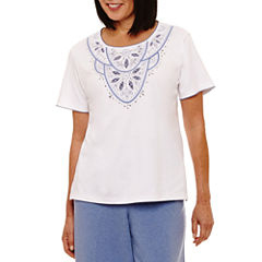 Alfred Dunner Long Weekend Short Sleeve Crew Neck T-Shirt-Womens