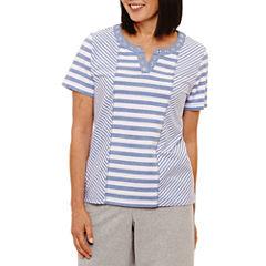 Alfred Dunner Long Weekend Short Sleeve Split Crew Neck T-Shirt-Womens
