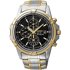 Seiko® Mens Two-Tone Brown Dial Chronograph Watch SSC142