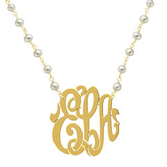 Personalized 22K Gold Over Silver 32mm Monogram Necklace