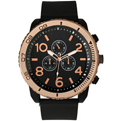 Olivia Pratt Mens Decorative Tachymeter Black Silicone Watch 13586Browngold