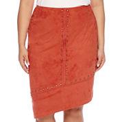 Bisou Bisou® Studded Asymmetrical Pencil Skirt - Plus