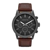 Claiborne® Mens Brown Textured Bezel Leather Strap Watch