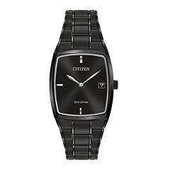 Citizen® Eco-Drive® Mens Rectangular Black Stainless Steel Watch AU1077-59H