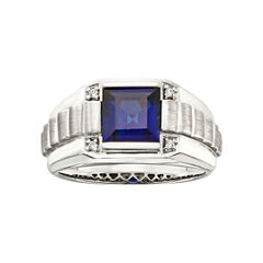Mens Sterling Silver Sapphire Ring