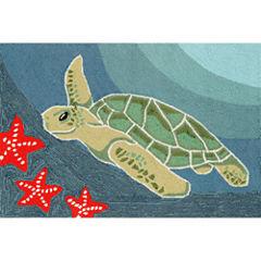 Liora Manne Frontporch Sea Turtle Hand Tufted Rectangular Rugs