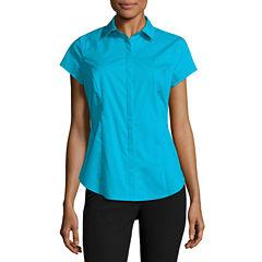 Worthington Short Sleeve Button-Front Shirt