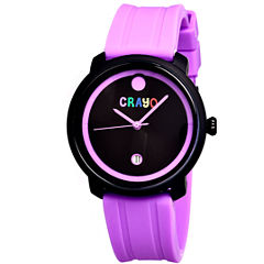 Crayo Unisex Fresh Purple Rubber-Strap Watch With Date Cracr0307