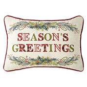 North Pole Trading Co. Seasons Greetings Decorative Pillow