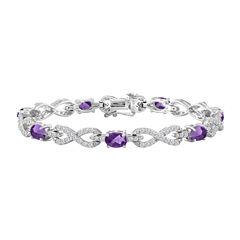 Womens 7 1/2 Inch Purple Amethyst Sterling Silver Chain Bracelet