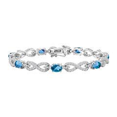 Womens 7 1/2 Inch Blue Blue Topaz Sterling Silver Chain Bracelet