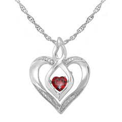 Love in Motion™ Genuine Garnet and Diamond-Accent Heart Pendant Necklace