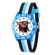 Marvel Boys Blue And White Civil War Iron Man Time Teacher Plastic Strap Watch W003116