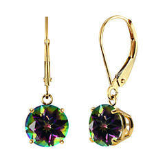 Genuine Mystic Topaz 10k Yellow Gold Leverback Dangle Earrings