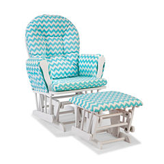 Storkcraft Hoop Glider And Ottoman - White W/ Turquoise Cushions Dome-Arm Chevron Glider