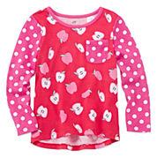 Okie Dokie® Long-Sleeve Printed Tee - Toddler Girls 2t-5t