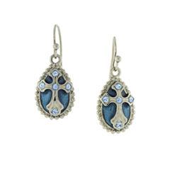 Symbols Of Faith Religious Jewelry Blue Drop Earrings