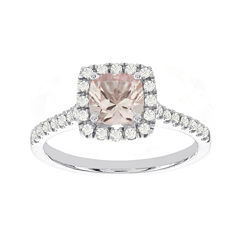 Blooming Bridal Genuine Cushion-Cut Morganite and Diamond 14K White Gold Ring
