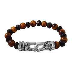 Mens Black Agate and Tiger's Eye Bead and Stainless Steel Bracelet