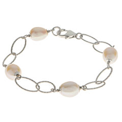 8.5-9Mm Cultured Freshwater Pearl Sterling Silver Bracelet