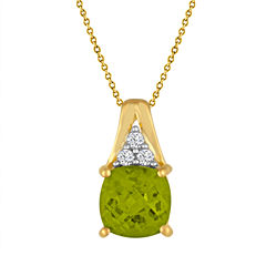 Genuine Peridot And Lab Created White Sapphire 14K Gold Over Silver Pendant