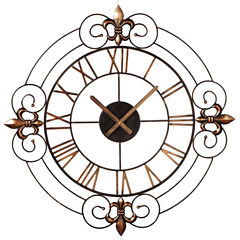 Bronze Scroll Fleur de Lis Wall Clock