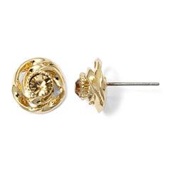Monet® Gold-Tone Brown Button Earrings