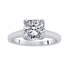 1½ CT. Round Certified Diamond Solitaire 14K White Gold Ring