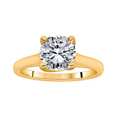 1½ CT. Round Certified Diamond Solitaire 14K Yellow Gold Ring