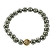 Dee Berkley Mens Genuine Pyrite Bead Stretch Bracelet