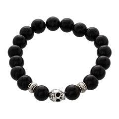 Dee Berkley Mens Genuine Black Agate Bead Skull Stretch Bracelet