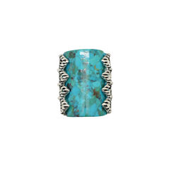 Womens Blue Turquoise Sterling Silver Cocktail Ring