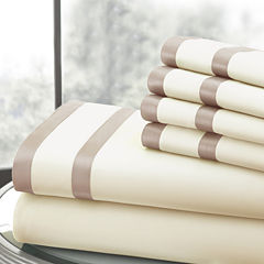 1000 Thread Count Cotton Blend Double Satin Band Hem 6pc Sheet Set